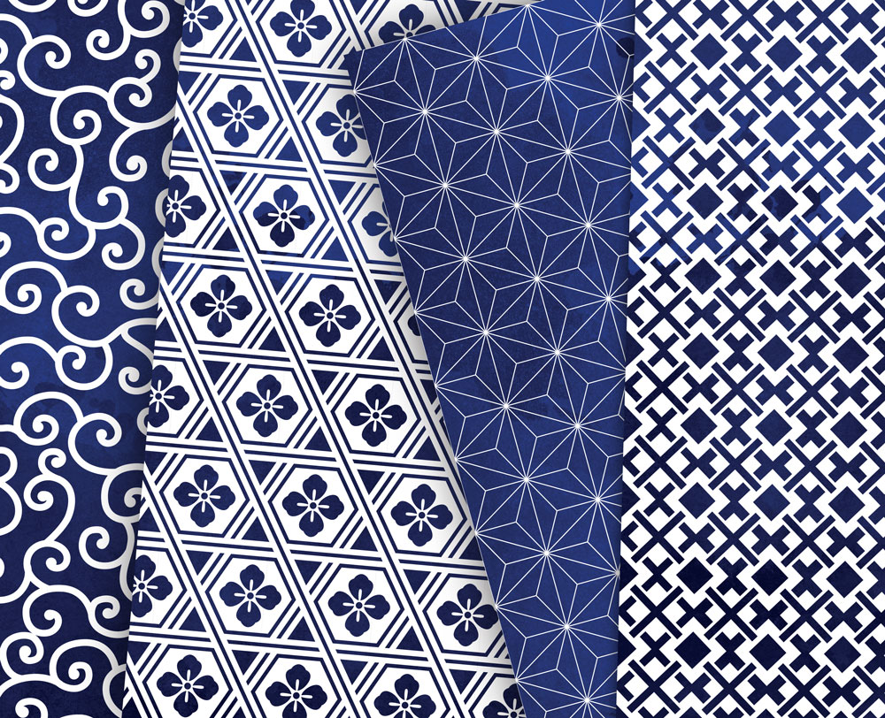 Navy Blue Digital Paper Japanese Background Patterns example image 5
