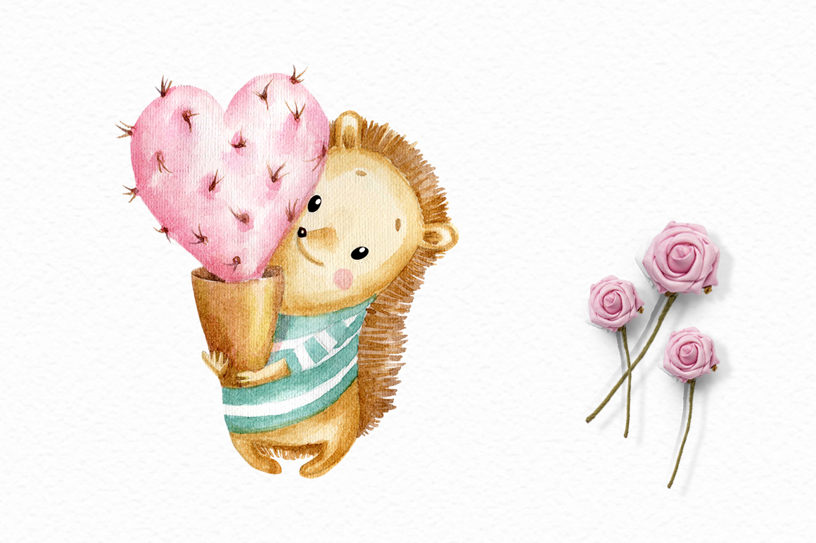 Valentine's Day watercolor clipart example image 3