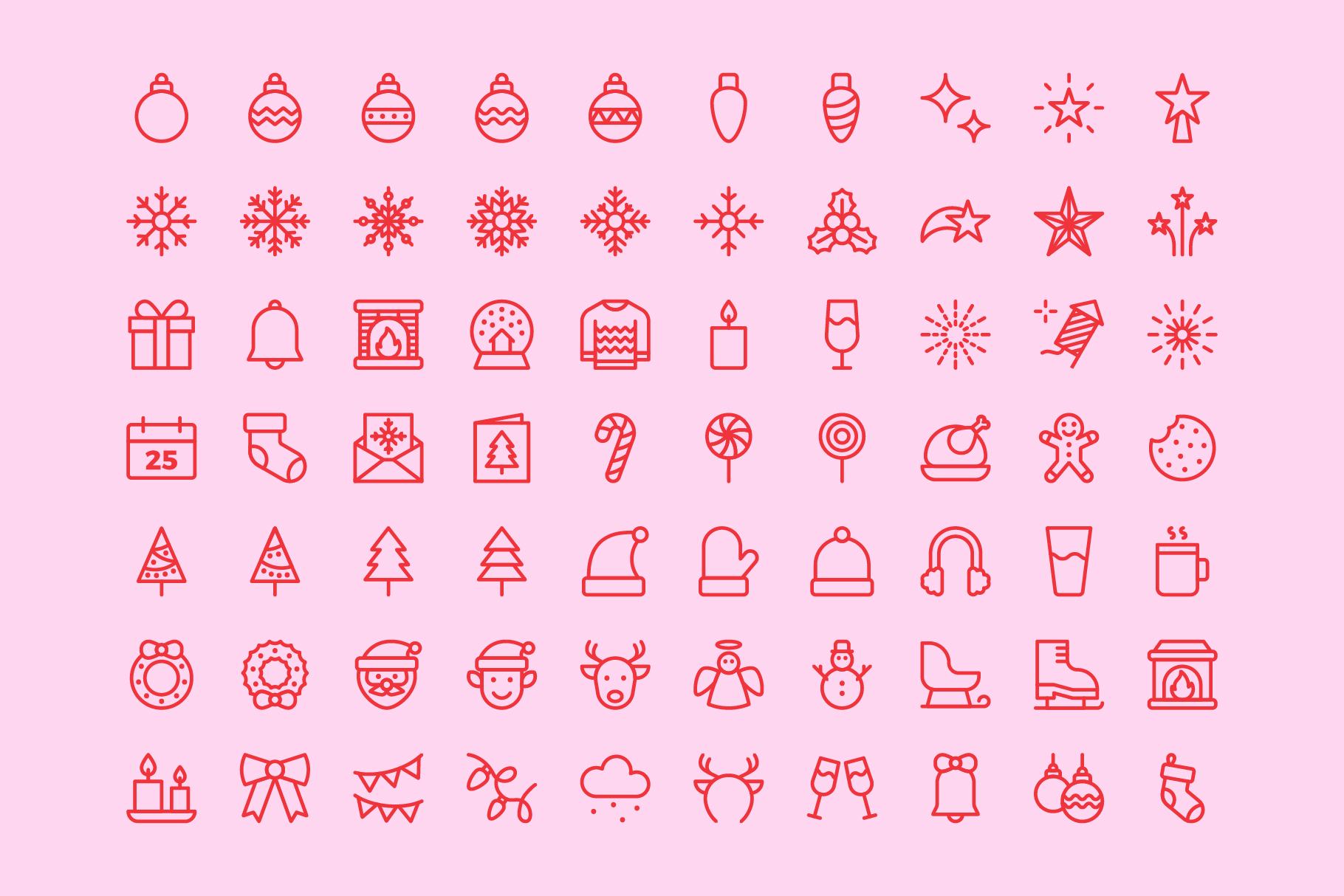 Merry Christmas | Line icons Vector example image 4
