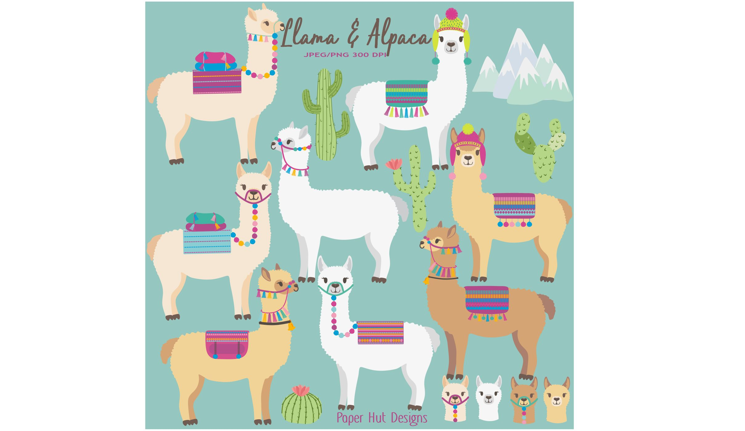 Llama and Alpaca Clipart example image 1