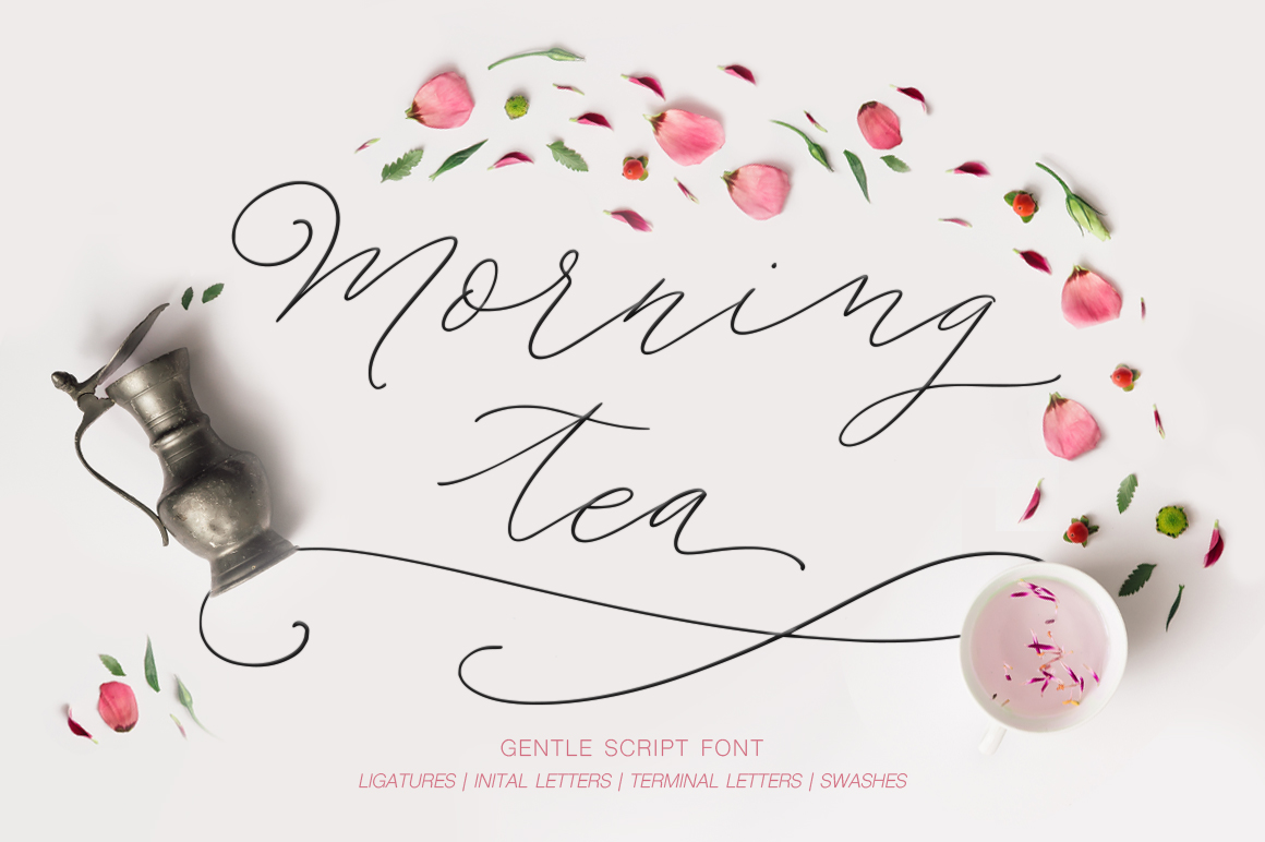 Morning tea. Script font. example image 1