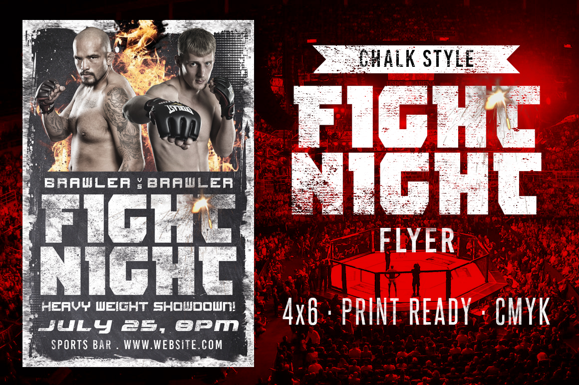 Chalk Fight Night Flyer example image 1