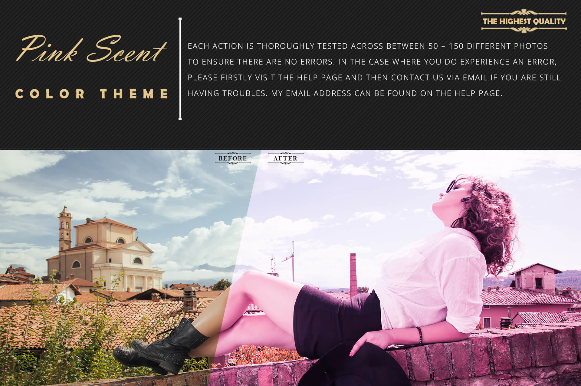 Neo Pink Scent Color Grading photoshop actions example image 6