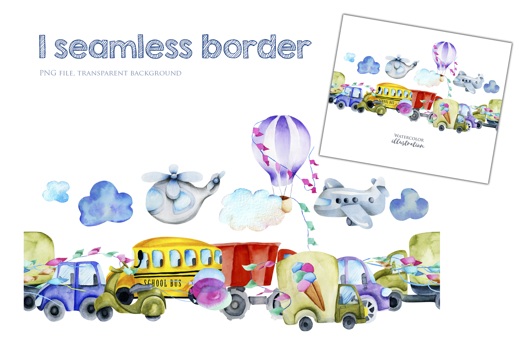 Cars. Watercolor clip art. example image 6