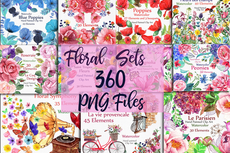 BUNDLE Watercolor floral elements example image 1
