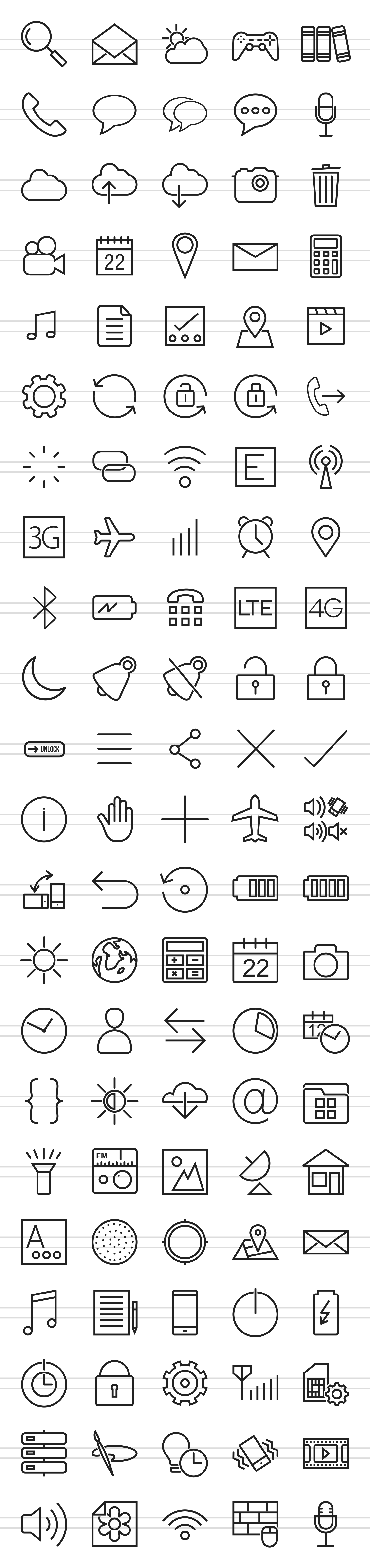 110 Mobile Interface Line Icons example image 2