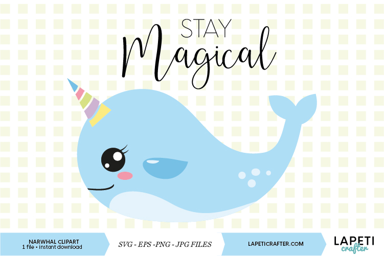 Narwhal clipart, stay magical vector download, sea unicorn example image 1