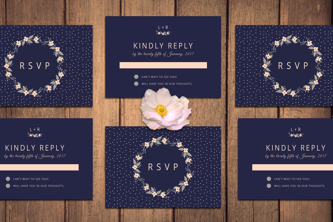 Floral Wreath Wedding Invitation + RSVP example image 3