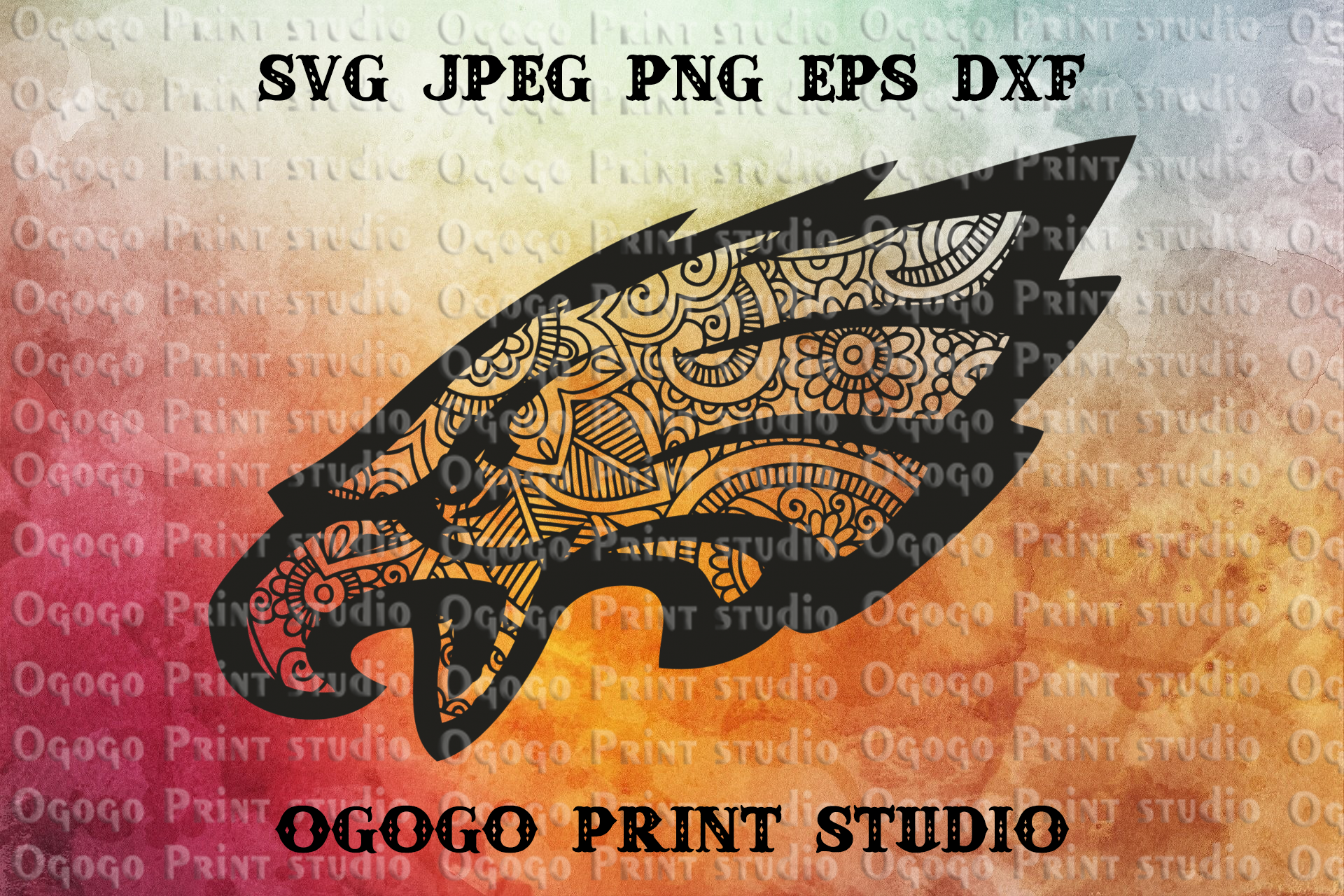 Mandala style Eagle SVG, Zentangle SVG, Independence svg example image 1