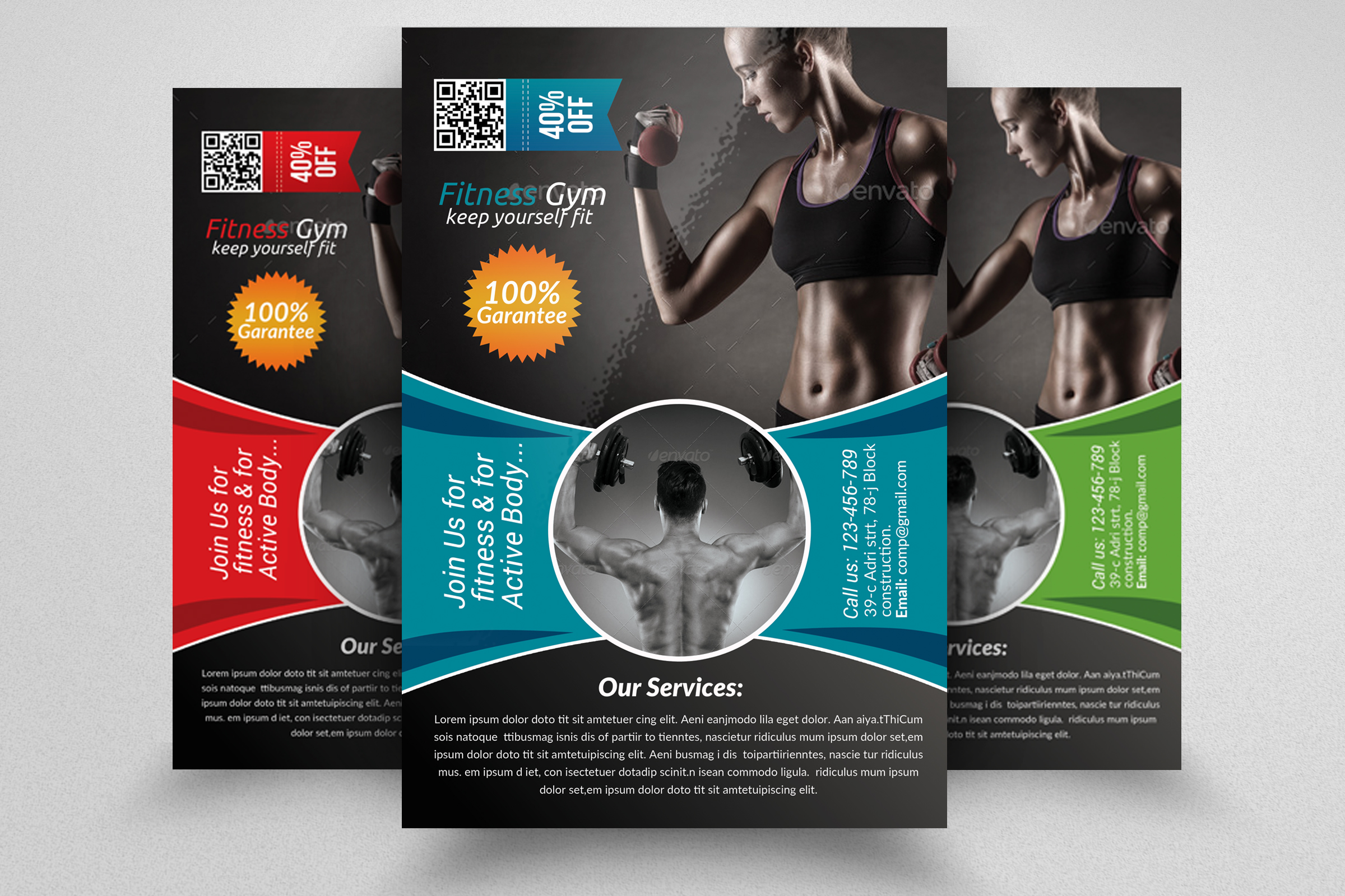 Body Fitness Club Flyer Template  example image 1