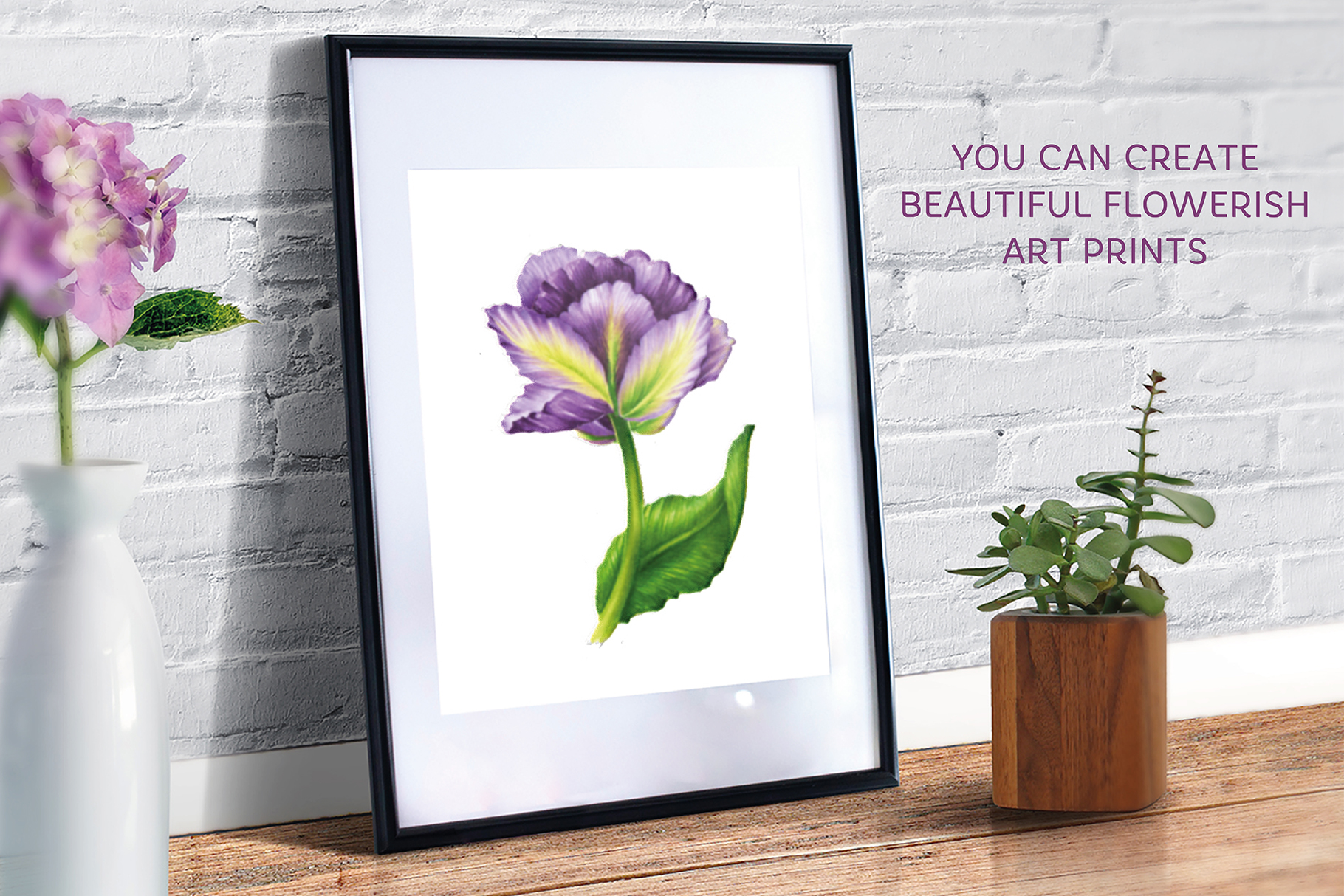 Vector Set Of Violet Tulips example image 4
