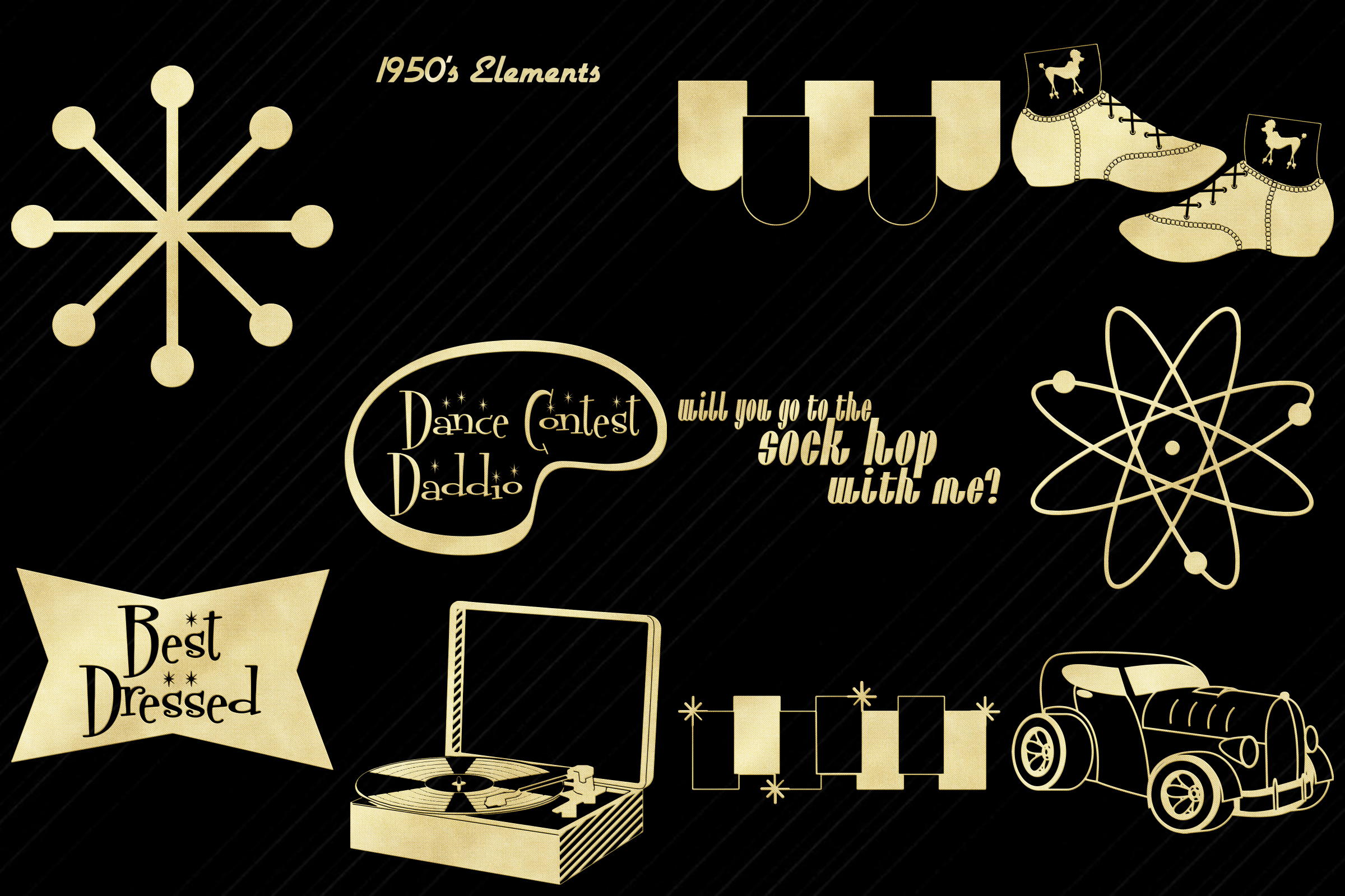 Retro 1950s Gold Foil Life and Party ClipArt example image 3