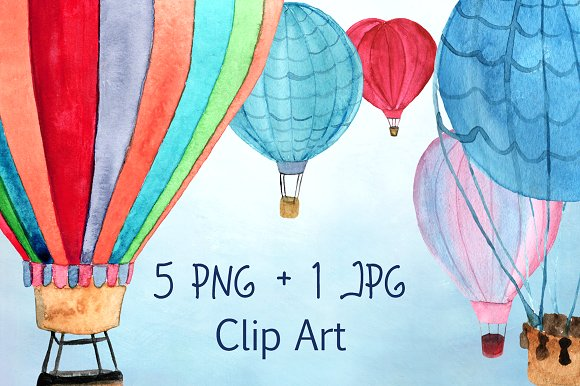 5 Hot Air Balloon PNG+JPEG example image 1