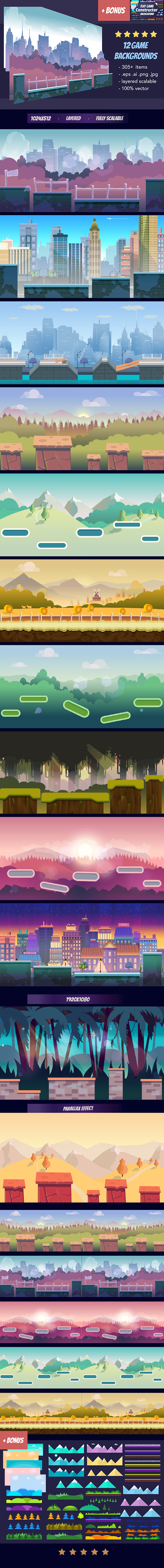 Game Backgrounds Pack III + Flat Constructor example image 2