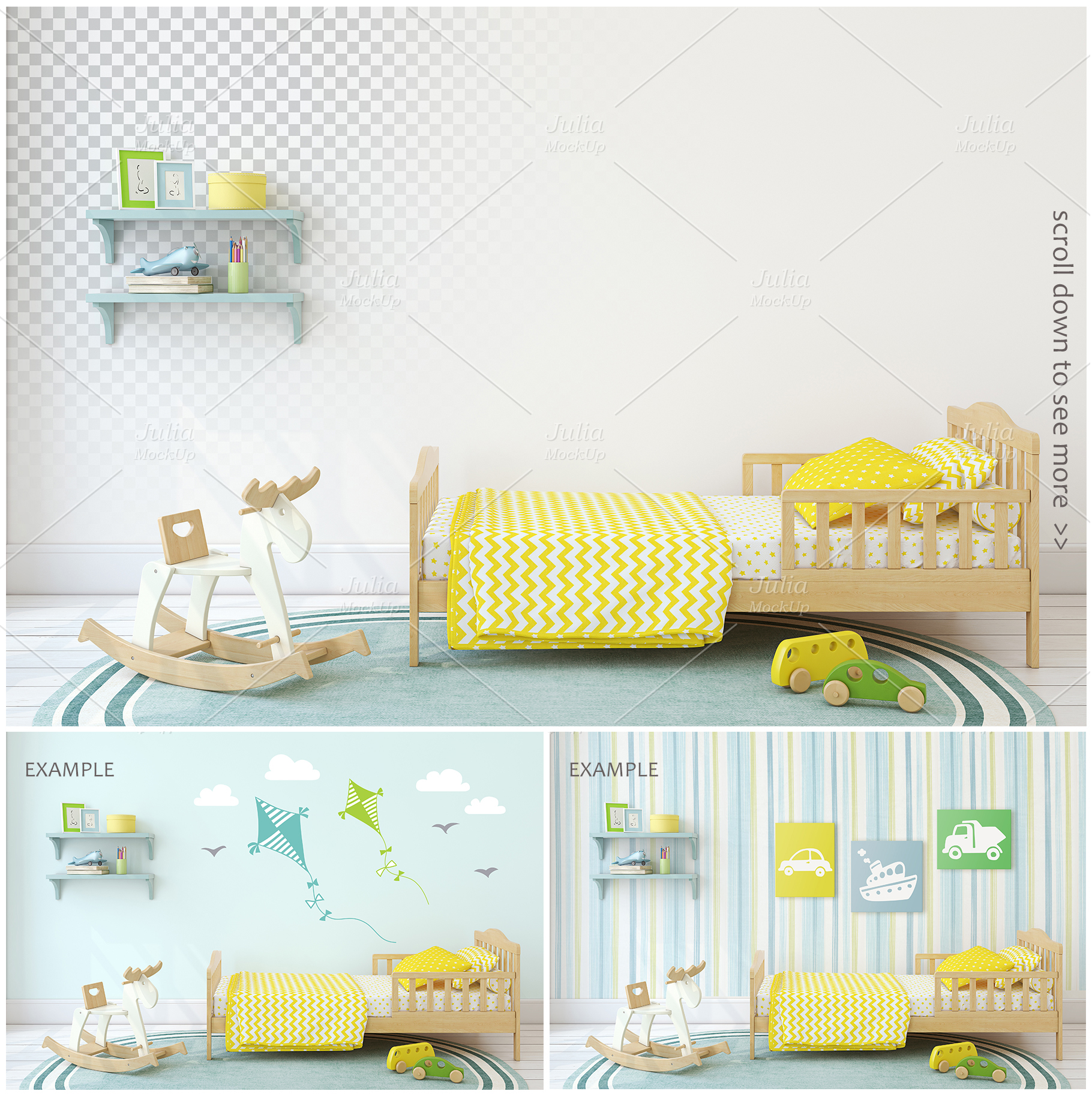 Kid's interiors. Wall&Frames Mockup. example image 3