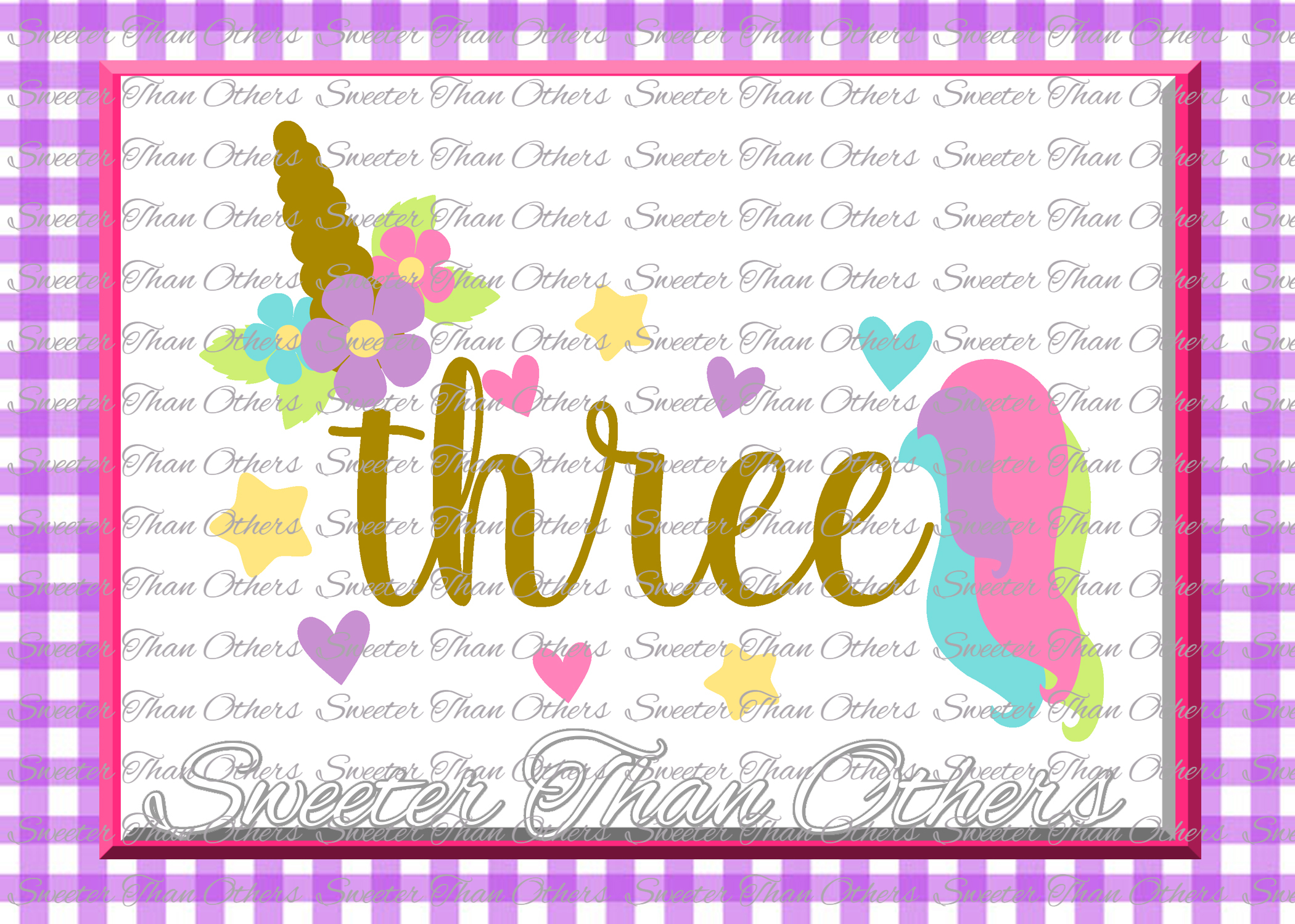 Three Birthday SVG, 3rd Birthday Unicorn svg example image 1