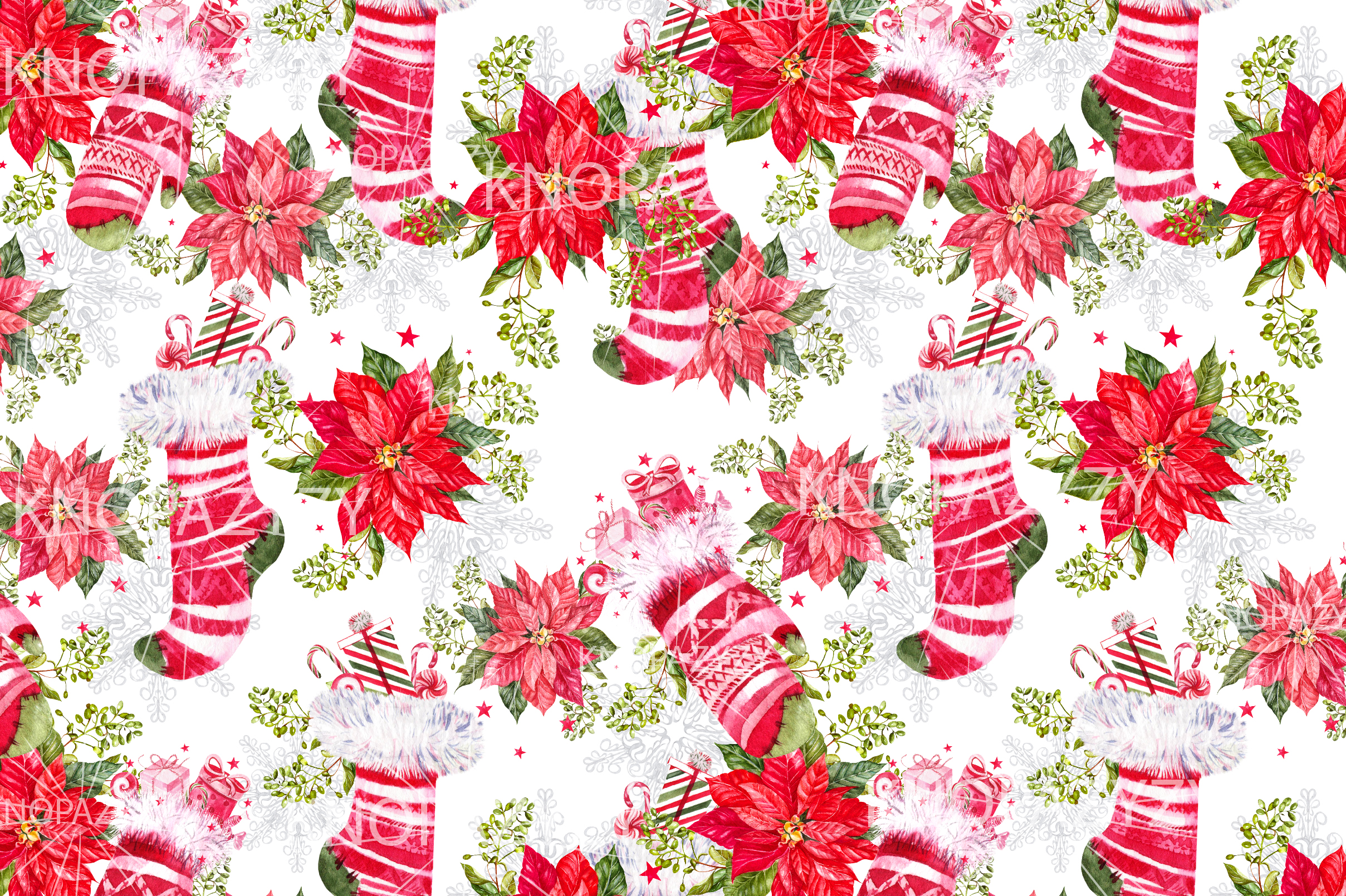 Hand Drawn Watercolor Christmas 13 Patterns example image 14