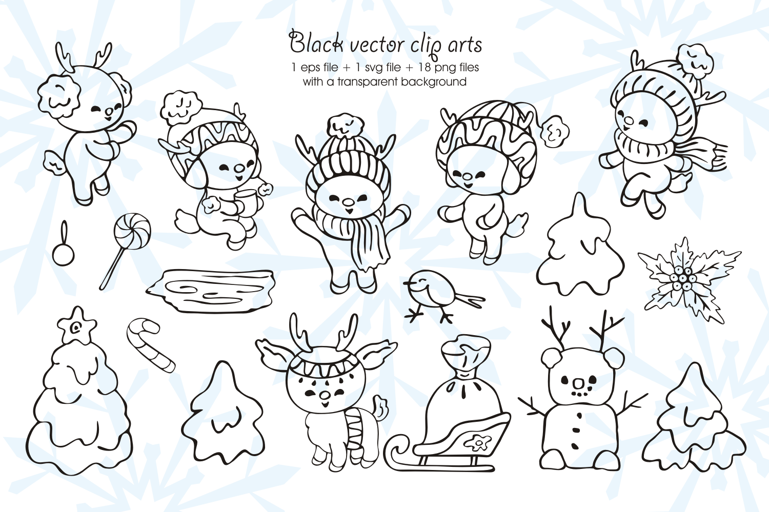 Little fawns. Christmas doodles and seamless patterns example image 3