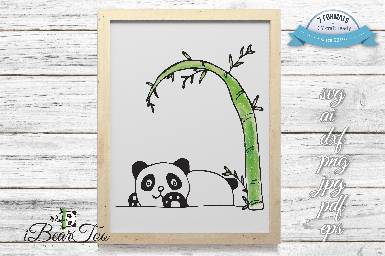 Panda SVG Watercolor Clipart Bear Drawing Vector Cut File example image 2