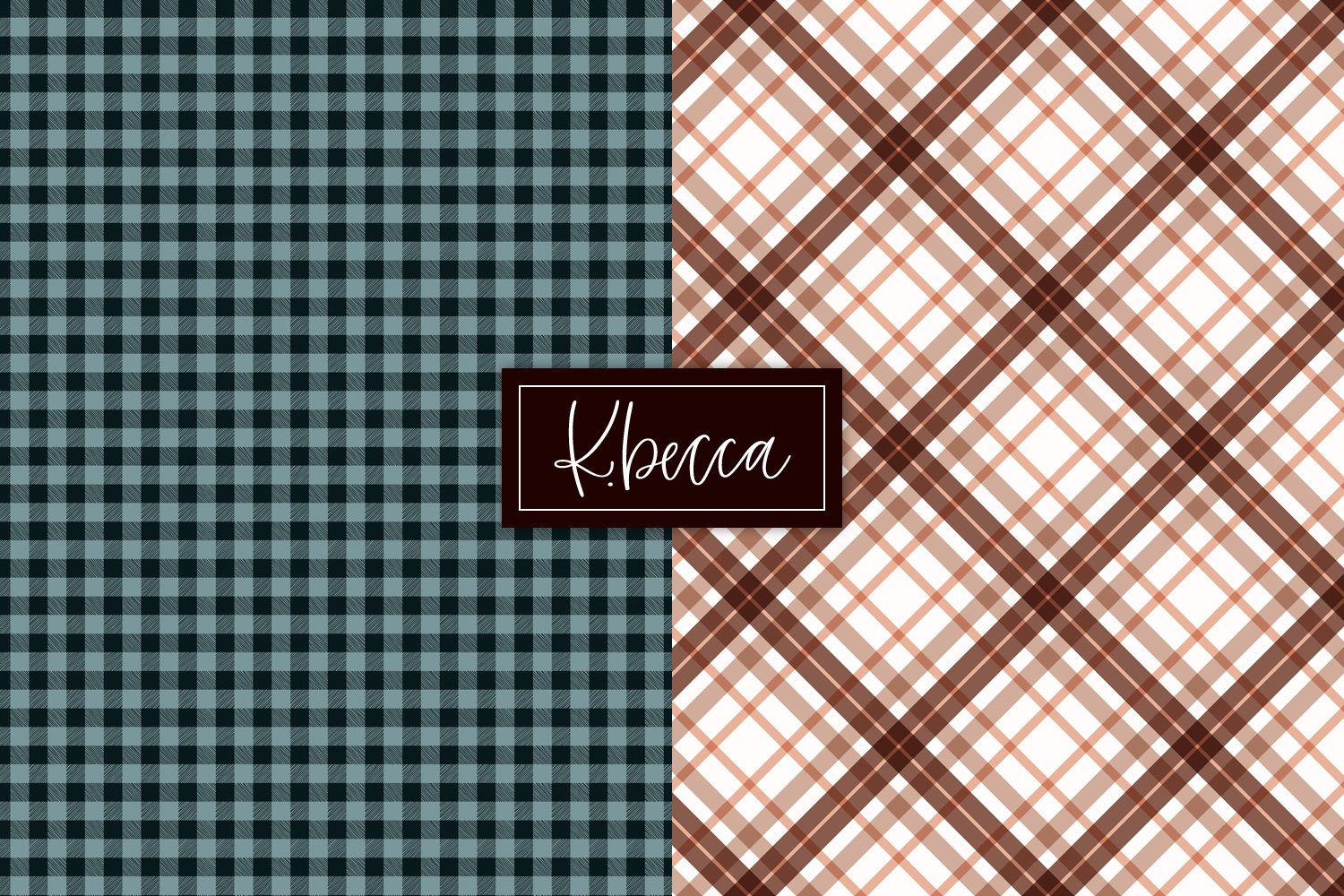 Autumn Fall Plaid Background Patterns Seamless example image 6