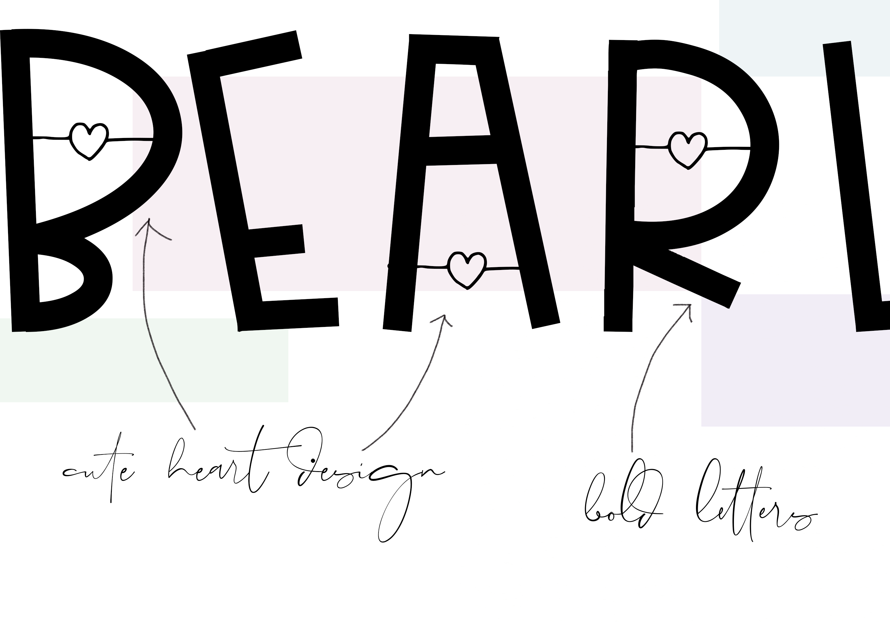 Bearly - Handwritten Font with Hearts example image 5
