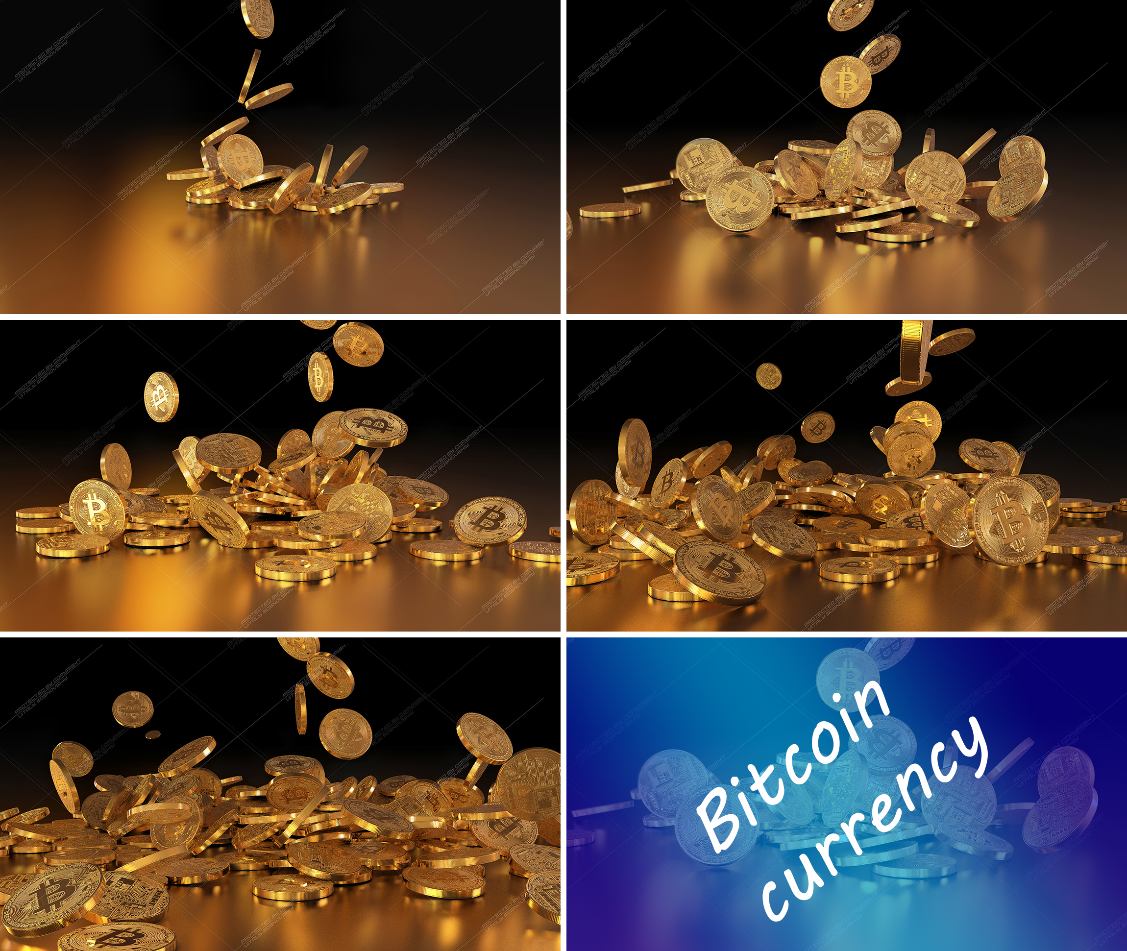 5  files - 3D rendering Bitcoins falling on a pile example image 1