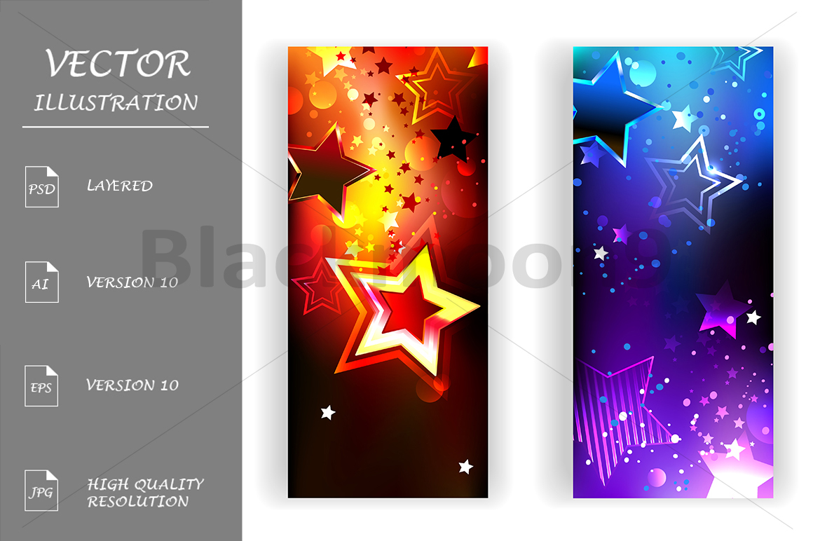 Two Banners with Abstract Stars example image 1
