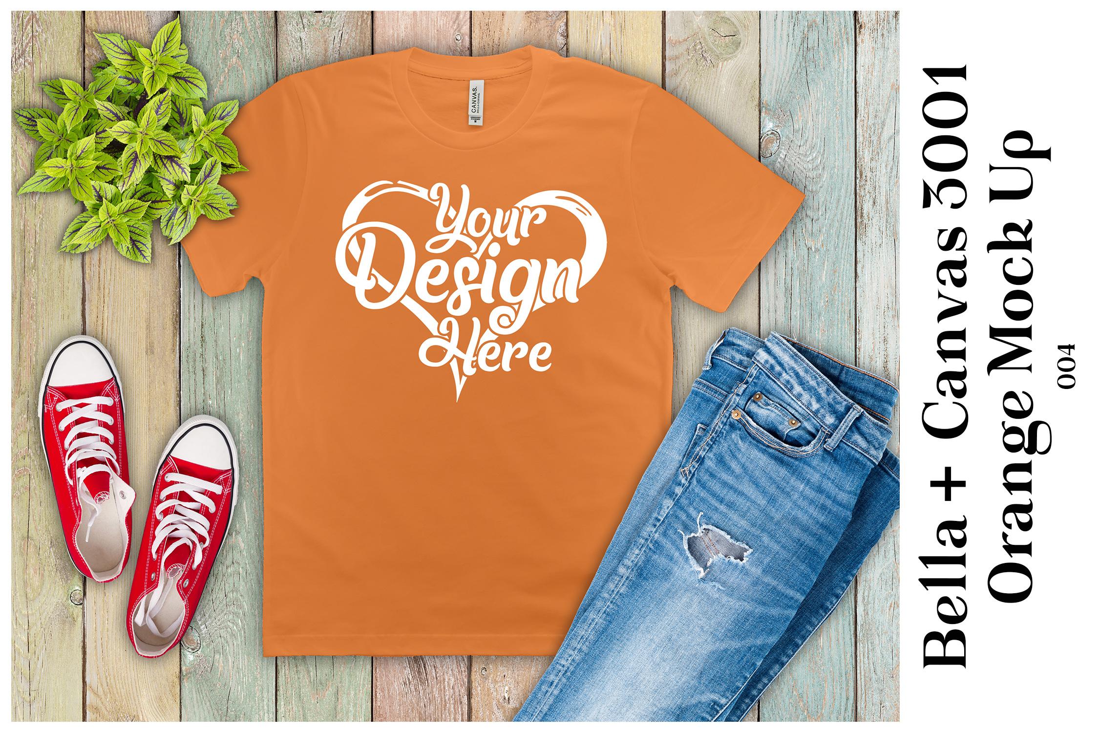 Mens T-Shirt Mockup Orange Bella Canvas 3001 Mock up example image 1