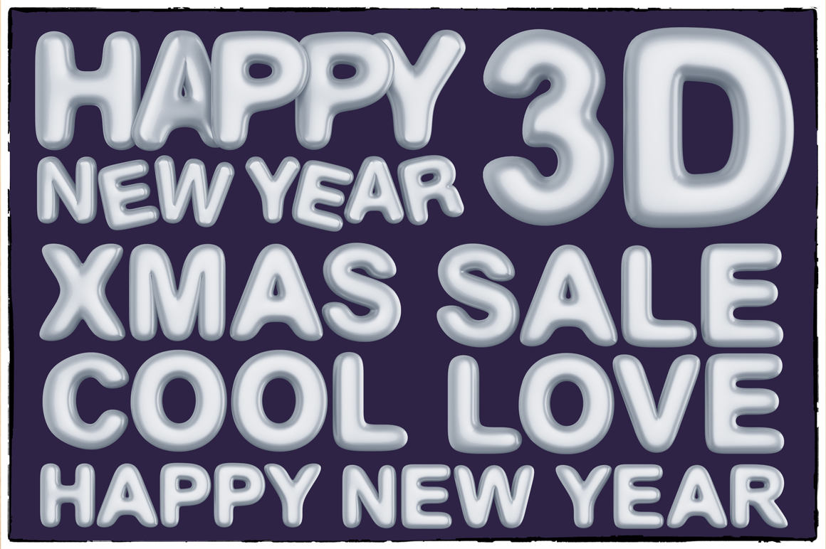 New Year 3D PNG Items Pack example image 9