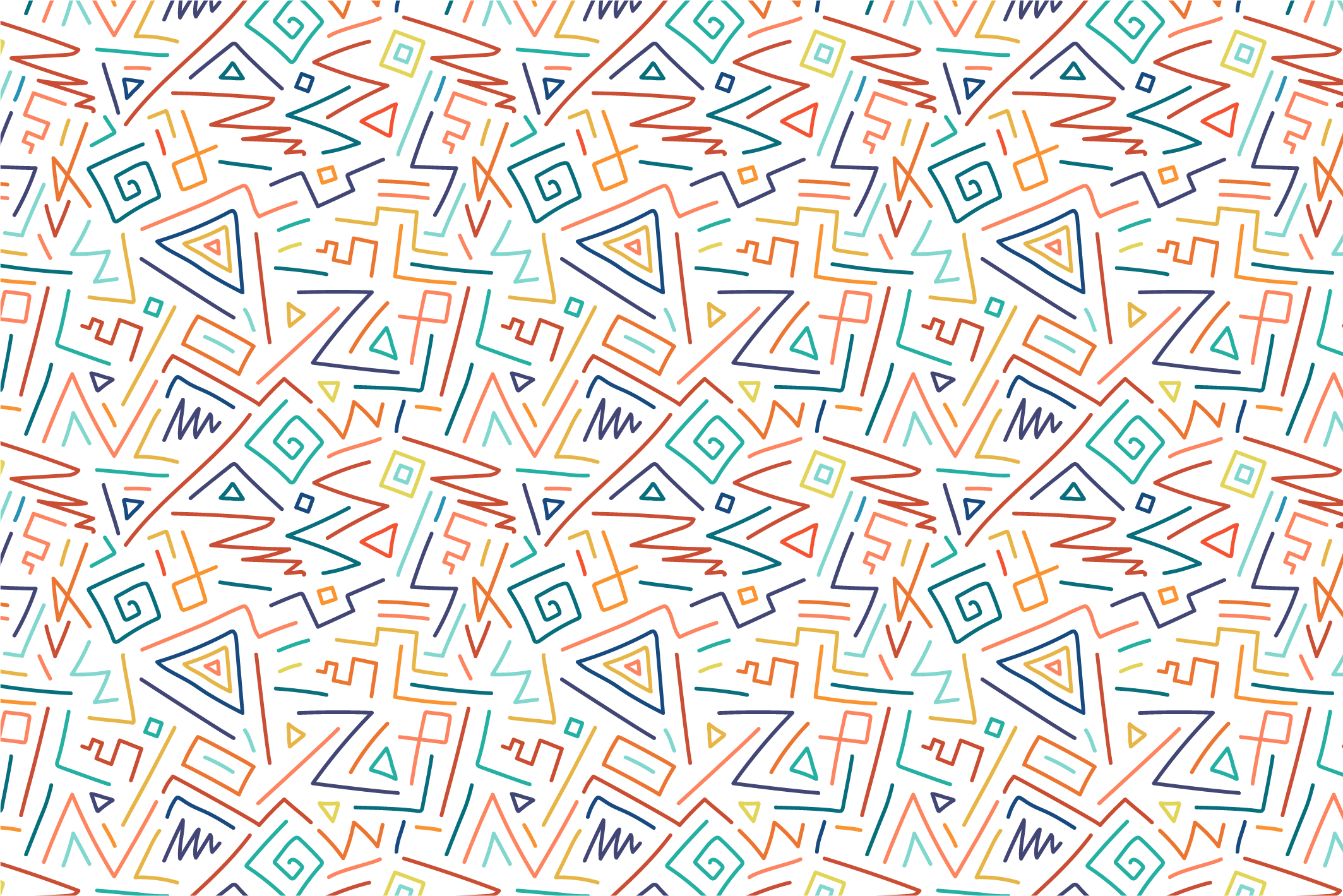 Hand drawn seamless color patterns. example image 3