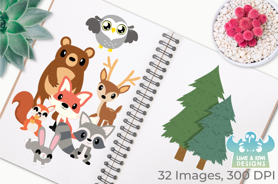 Woodland Animals Boys Clipart, Instant Download Vector Art example image 3