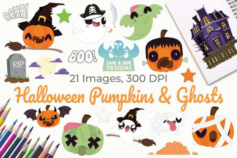 Halloween Pumpkins and Ghosts Clipart, Instant Download example image 1