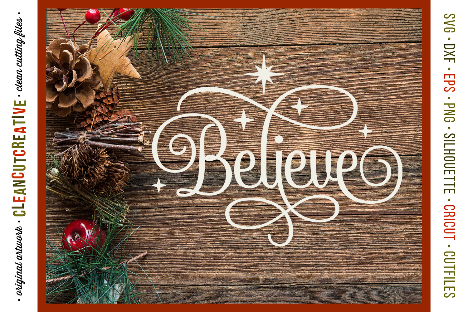 BELIEVE in the Magic - Christmas design in SVG DXF EPS PNG example image 2