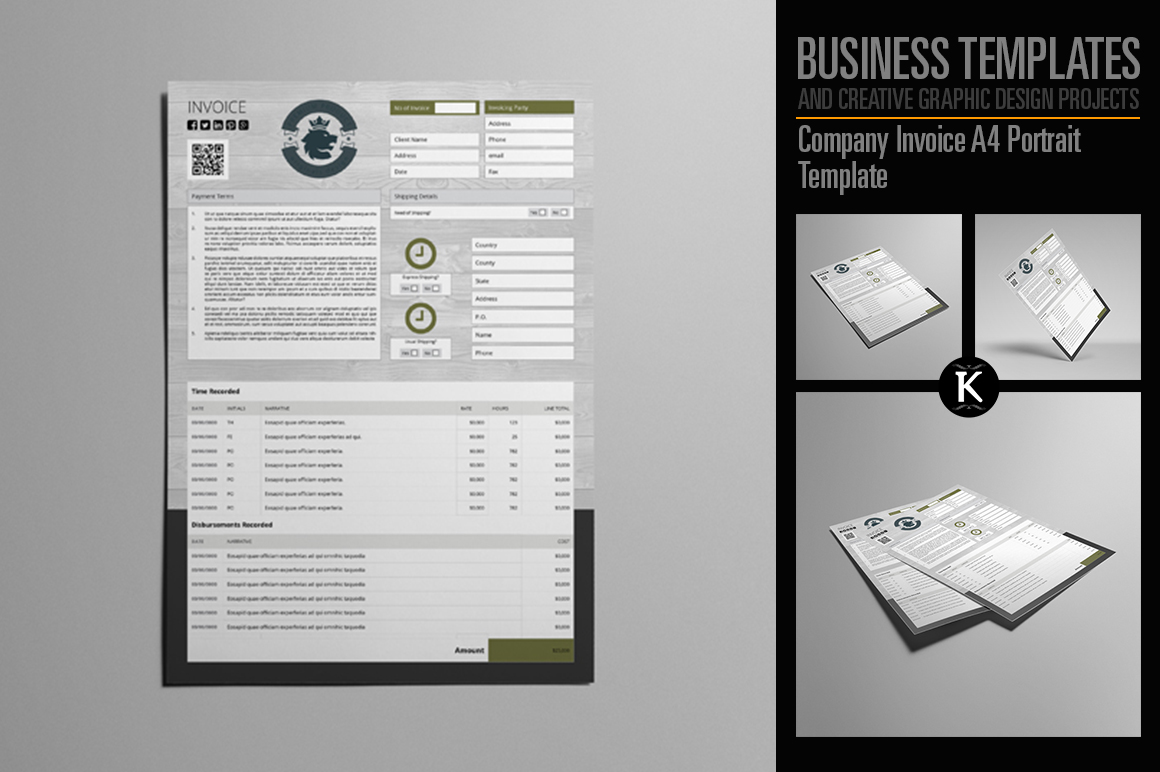 Company Invoice A4 Portrait Template example image 1