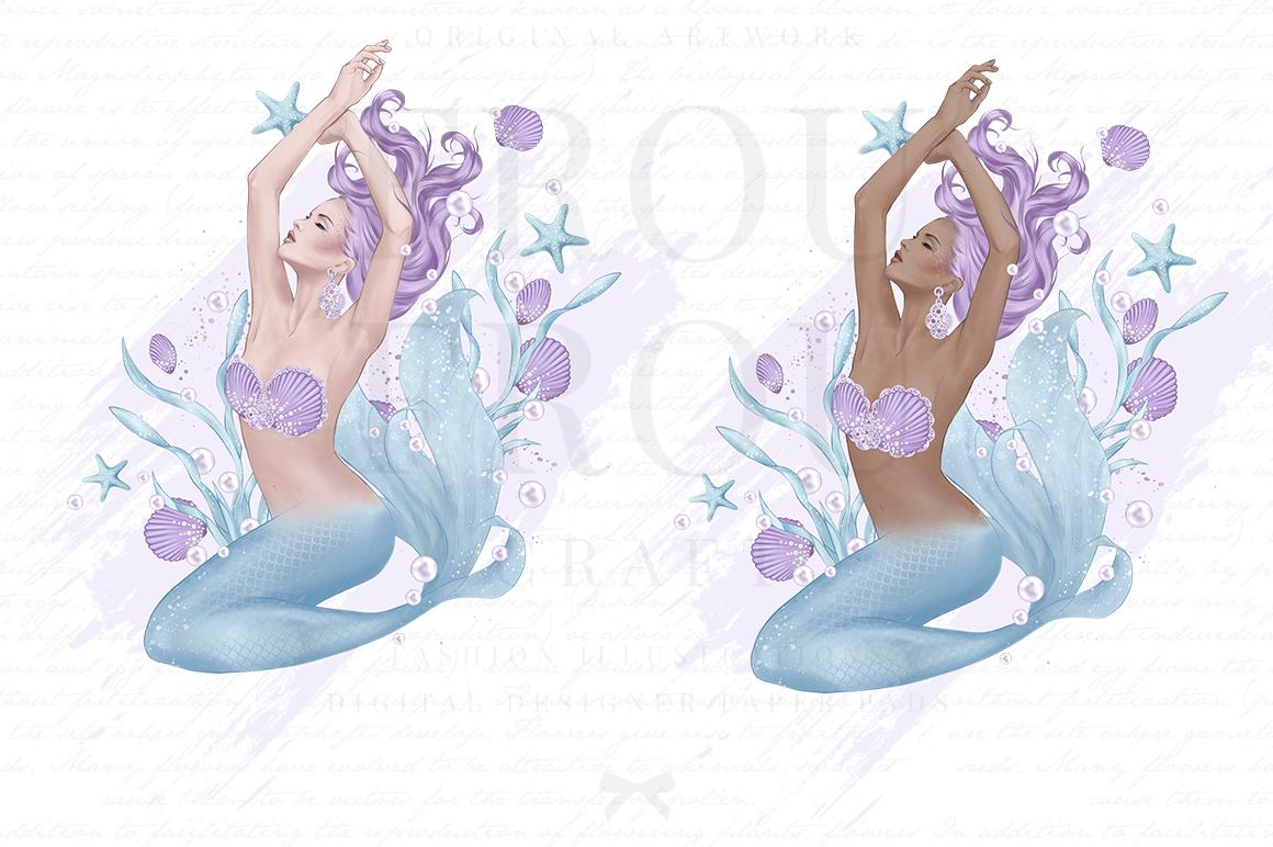 Mermaid Fairy Tale Sea Shell Ocean Clip Art example image 2