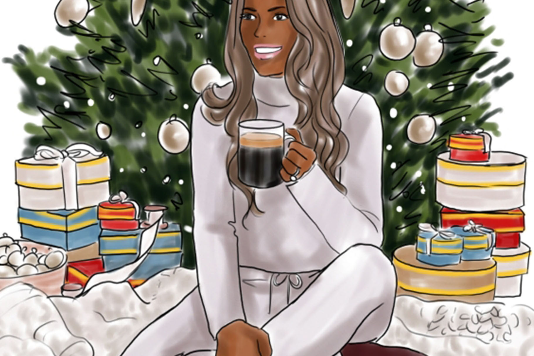 Fashion illustration - Christmas Girl 6 - Dark Skin example image 3