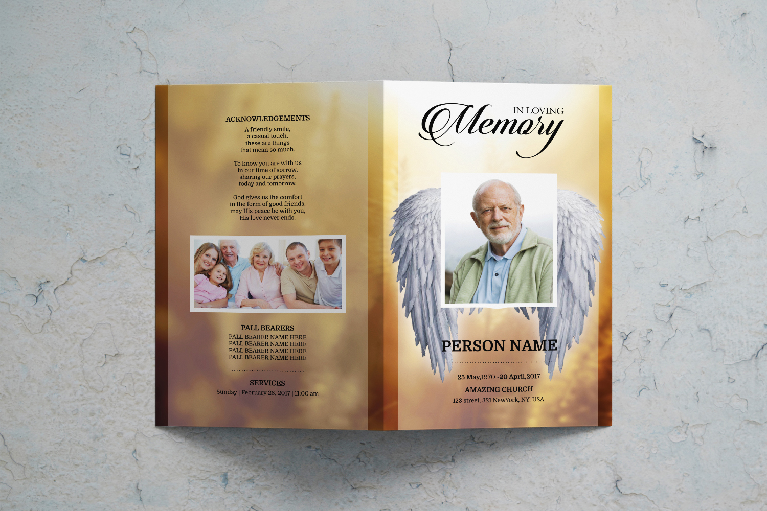 Angel Wing funeral program template example image 2