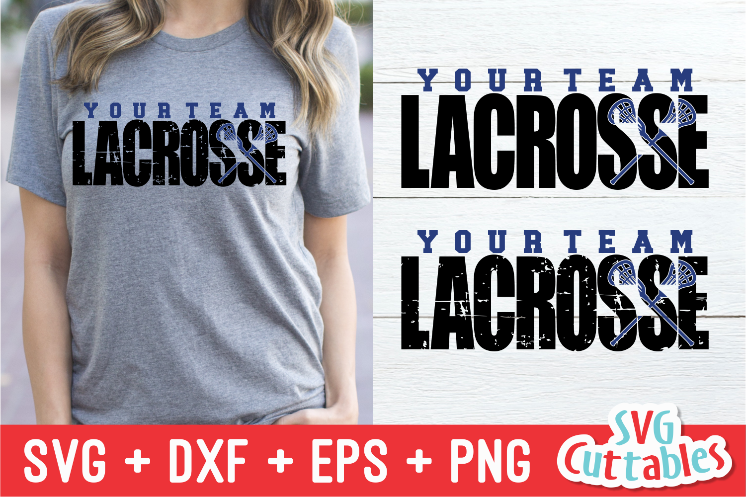 Lacrosse Distressed   SVG Cut File example image 1