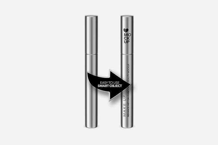 Cosmetics Mockup - Lipstick / Mascara / Eyeliner - Metallic example image 3
