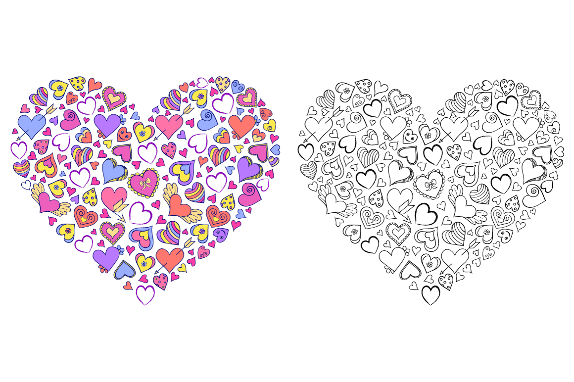Floral Valentine's hearts example image 4