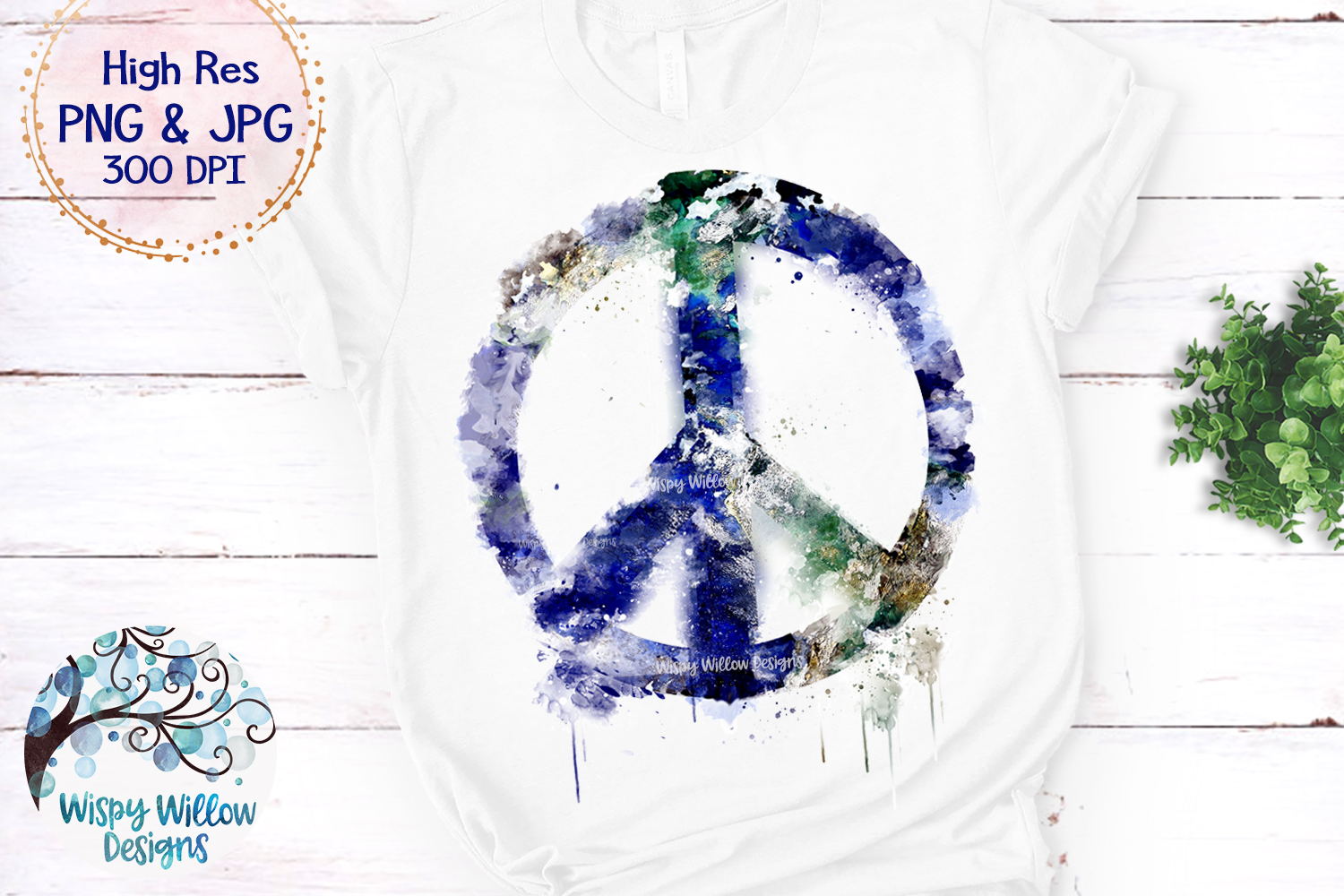 Grunge Watercolor Earth Peace Sign PNG | Sublimation example image 1