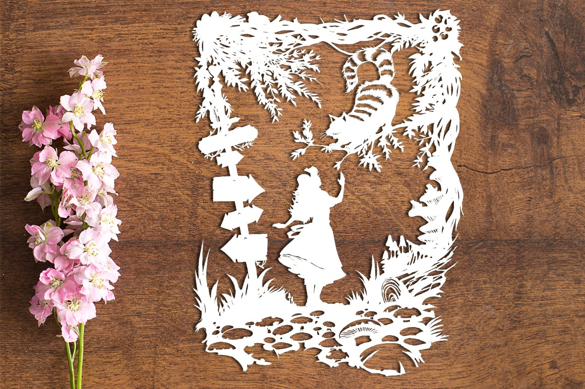 Cheshire Cat - Wonderland - Paper Cutting Template example image 1