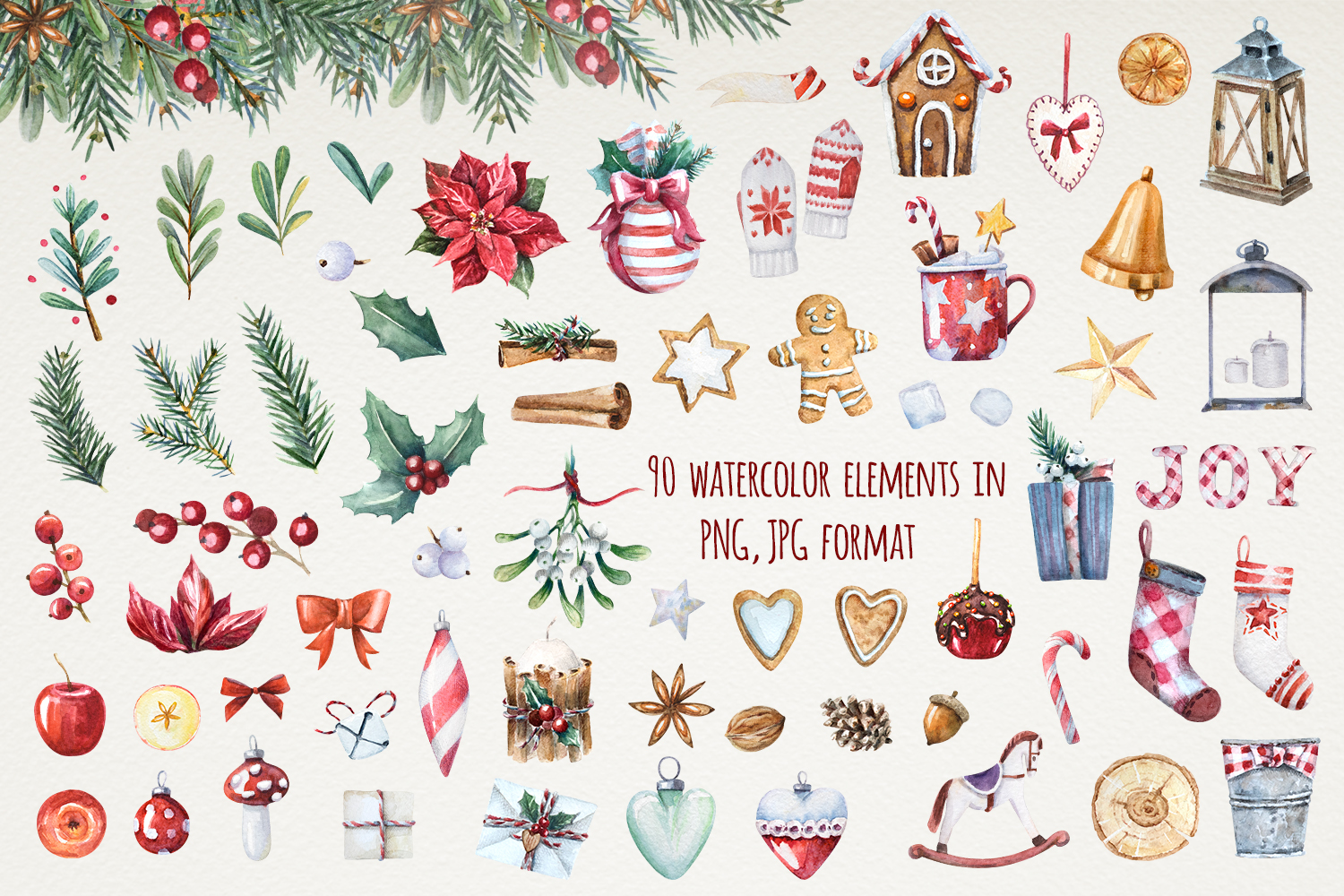 Magic Christmas set. Watercolor clipart collection example image 2