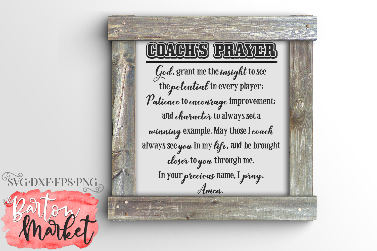 Coach's Prayer SVG DXF EPS PNG 1 example image 1