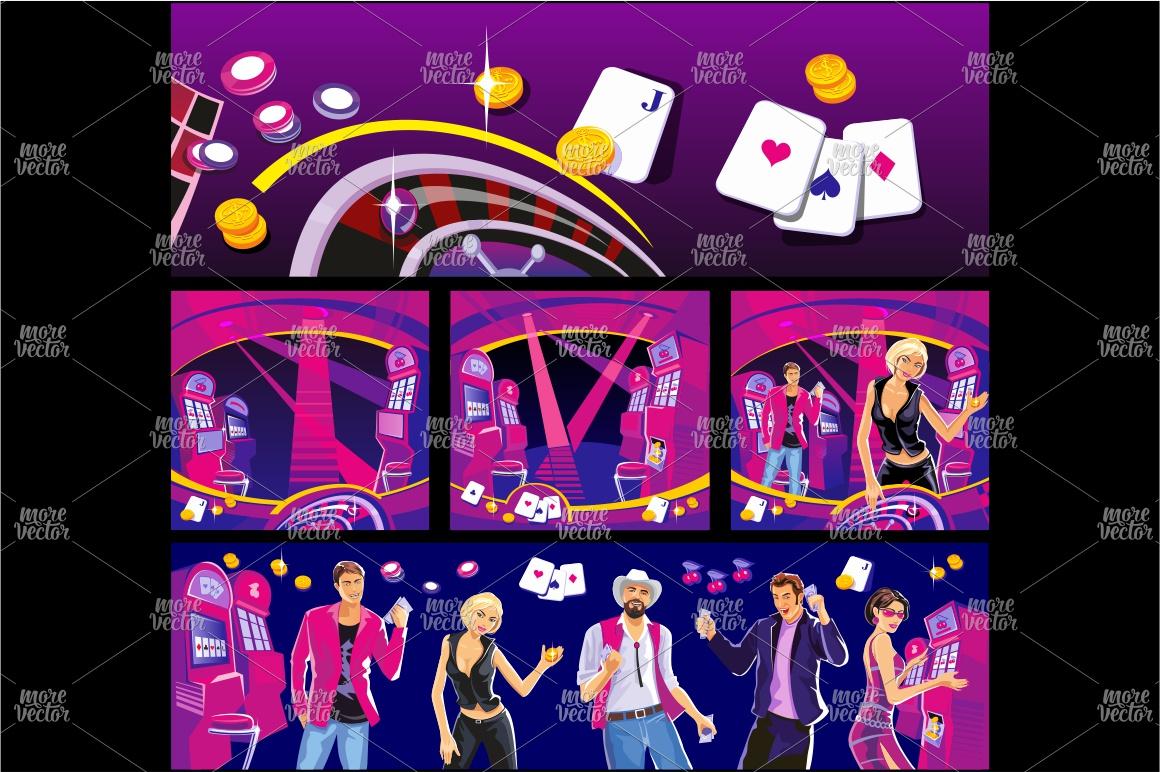 Set interior casino slot machines man woman Vector flat example image 1