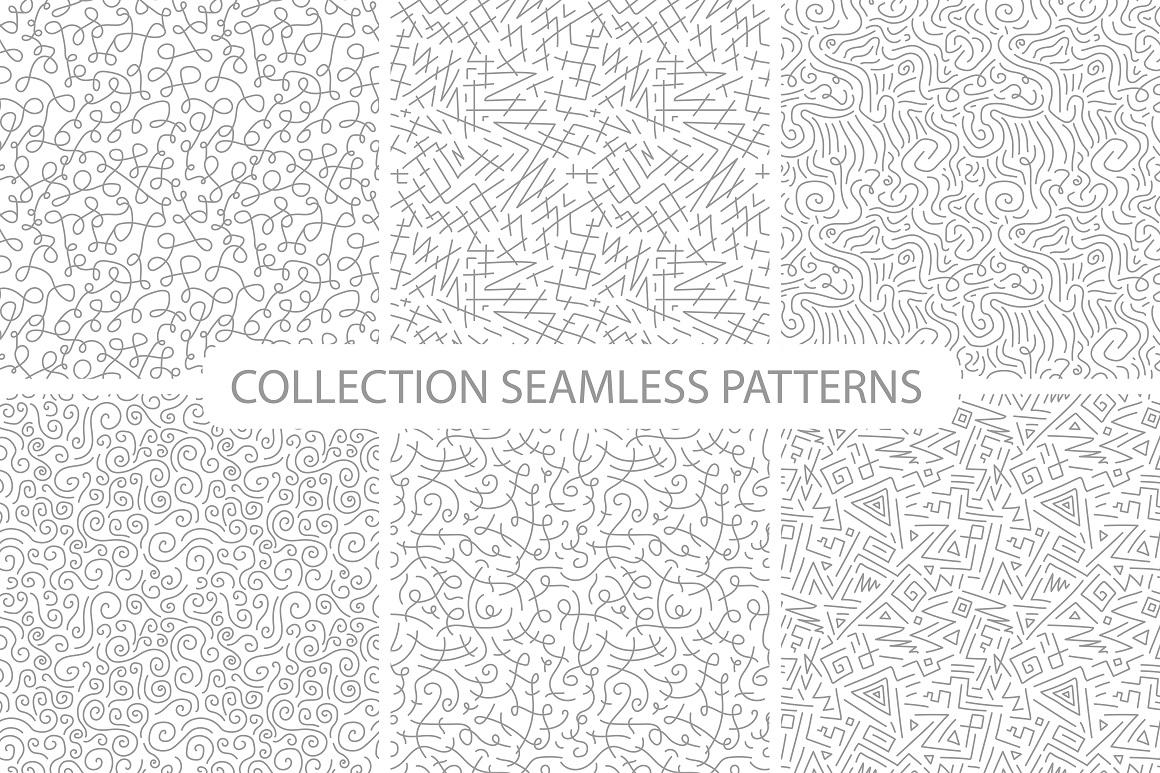 Hand drawn seamless curly patterns. example image 7