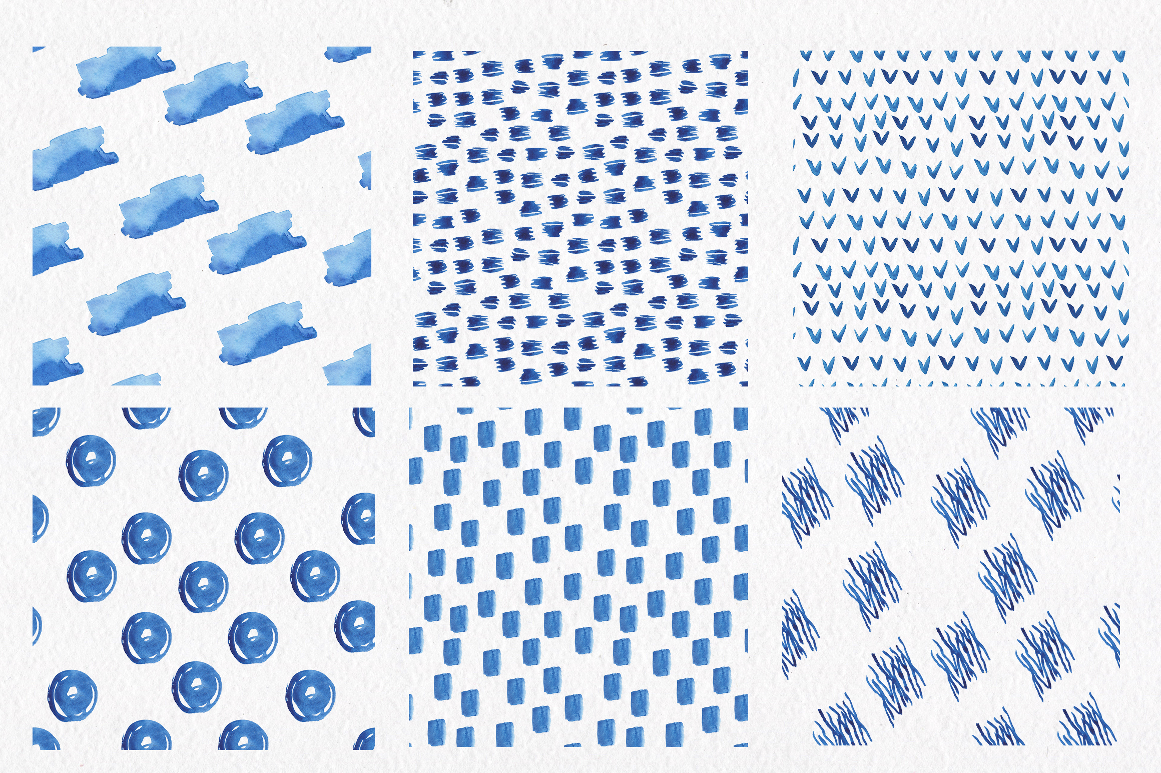 Blue watercolour seamless patterns set. example image 3