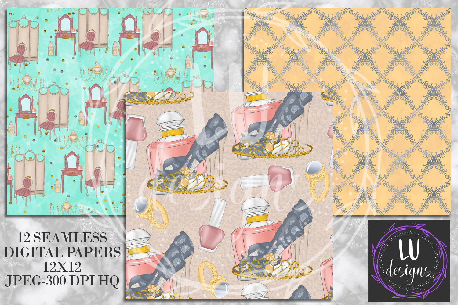 Vintage Boudoir Digital Papers, Glam Backgrounds example image 2
