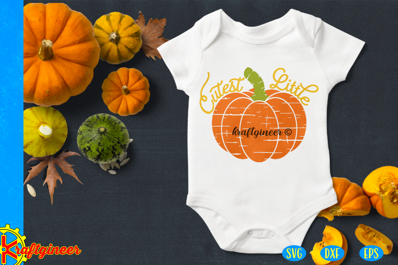 Halloween SVG- Distress Cutest Little Pumpkin CUT FILE, DXF example image 2