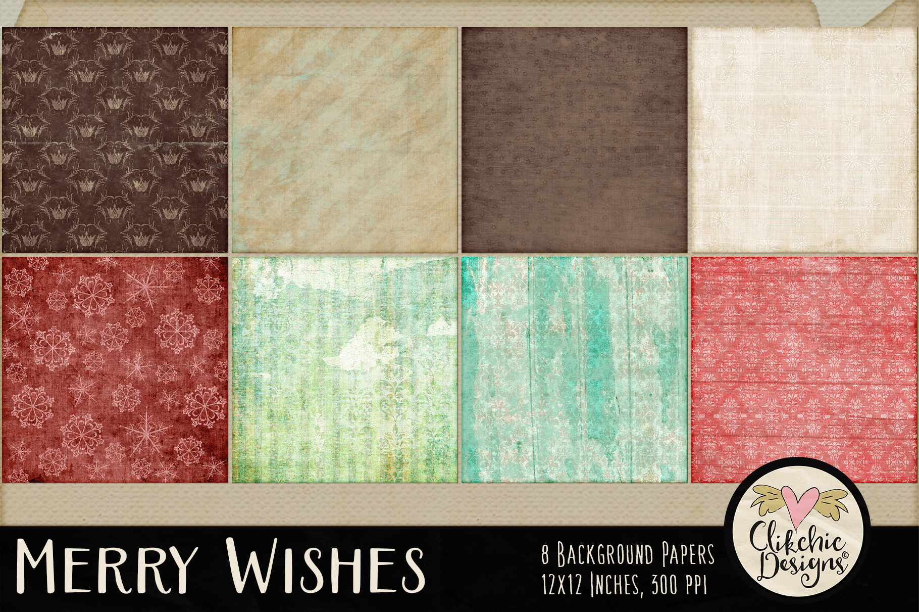 Christmas Backgrounds - Merry Wishes Digital Papers Textures example image 2